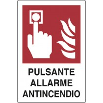CARTELLO PULSANTE ALLARME ANTINCENDIO ALLUMINIO CM.18X12